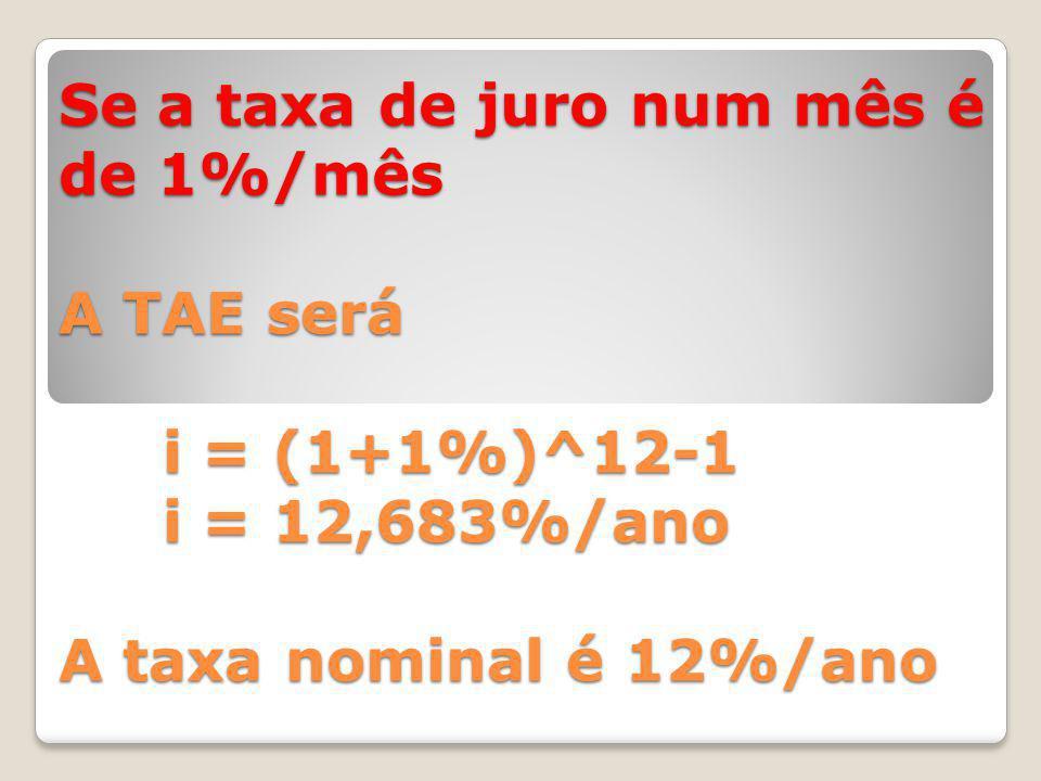 Se a taxa de juro num mês é de 1%/mês A TAE será i = (1+1%)^12-1 i = 12,683%/ano A taxa nominal é 12%/ano