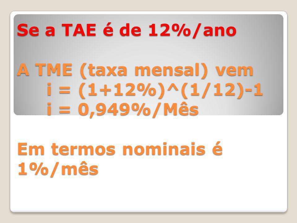 Se a TAE é de 12%/ano A TME (taxa mensal) vem i = (1+12%)^(1/12)-1 i = 0,949%/Mês Em termos nominais é 1%/mês