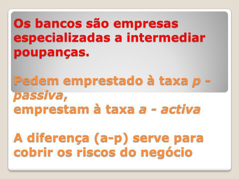 Os bancos são empresas especializadas a intermediar poupanças.