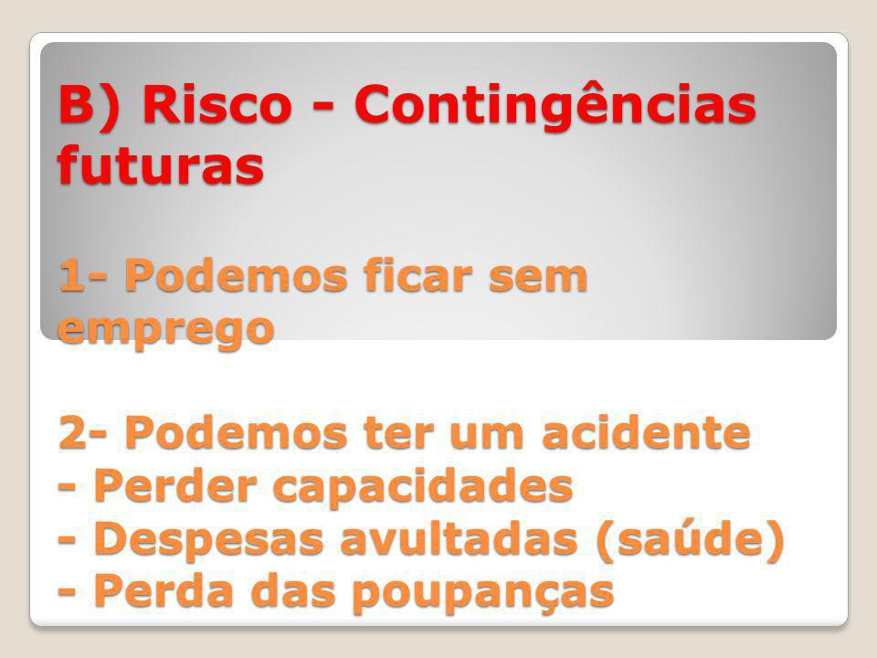 B) Risco - Contingências futuras 1- Podemos ficar sem emprego 2- Podemos ter um acidente - Perder capacidades - Despesas avultadas (saúde) - Perda das poupanças