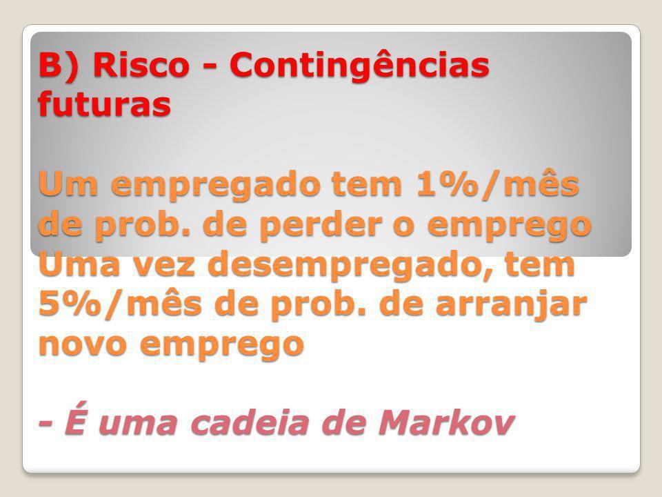 B) Risco - Contingências futuras Um empregado tem 1%/mês de prob.