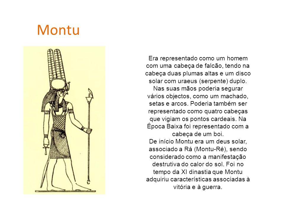 Montu Era representado como um homem com uma cabeça de falcão, tendo na cabeça duas plumas altas e um disco solar com uraeus (serpente) duplo. Nas sua