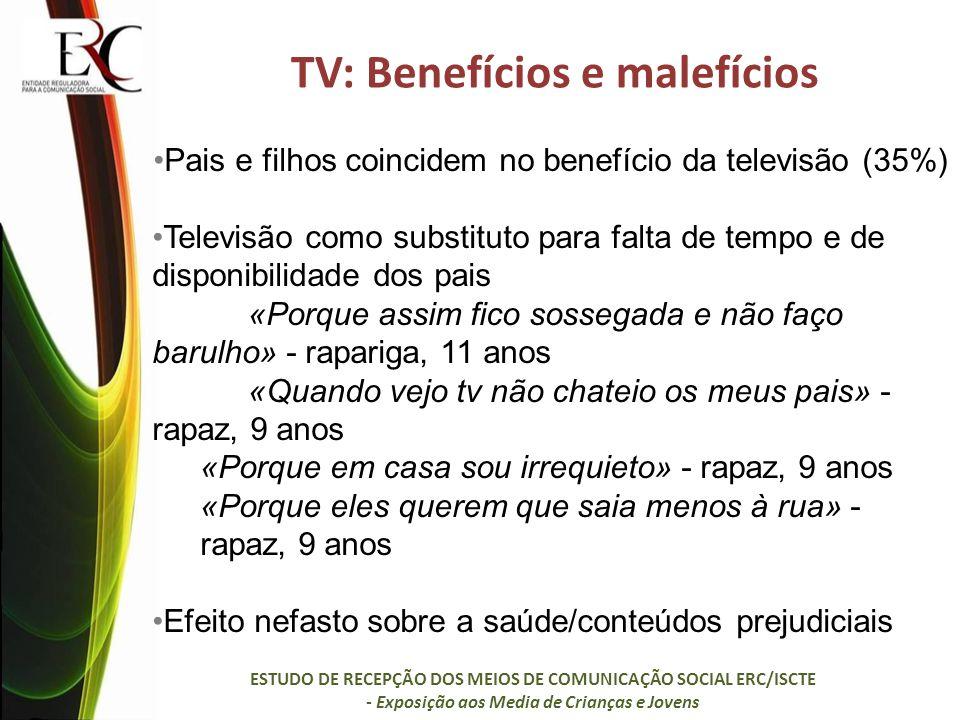 TV: Benefícios e malefícios Pais e filhos coincidem no benefício da televisão (35%) Televisão como substituto para falta de tempo e de disponibilidade dos pais «Porque assim fico sossegada e não faço barulho» - rapariga, 11 anos «Quando vejo tv não chateio os meus pais» - rapaz, 9 anos «Porque em casa sou irrequieto» - rapaz, 9 anos «Porque eles querem que saia menos à rua» - rapaz, 9 anos Efeito nefasto sobre a saúde/conteúdos prejudiciais ESTUDO DE RECEPÇÃO DOS MEIOS DE COMUNICAÇÃO SOCIAL ERC/ISCTE - Exposição aos Media de Crianças e Jovens
