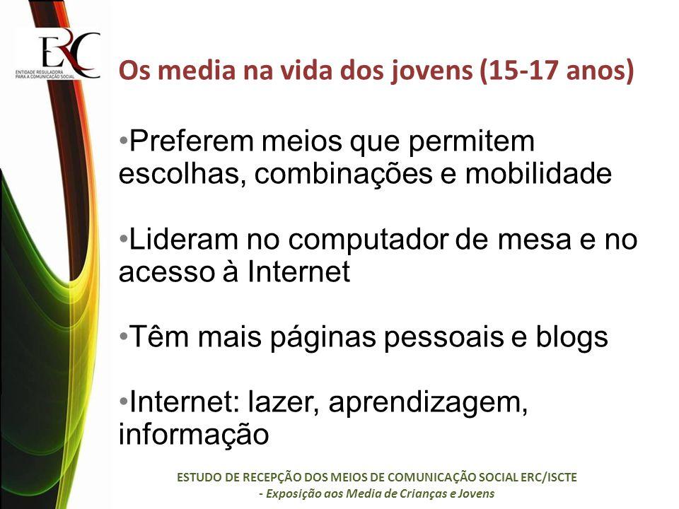 Os media na vida dos jovens (15-17 anos) Preferem meios que permitem escolhas, combinações e mobilidade Lideram no computador de mesa e no acesso à Internet Têm mais páginas pessoais e blogs Internet: lazer, aprendizagem, informação ESTUDO DE RECEPÇÃO DOS MEIOS DE COMUNICAÇÃO SOCIAL ERC/ISCTE - Exposição aos Media de Crianças e Jovens