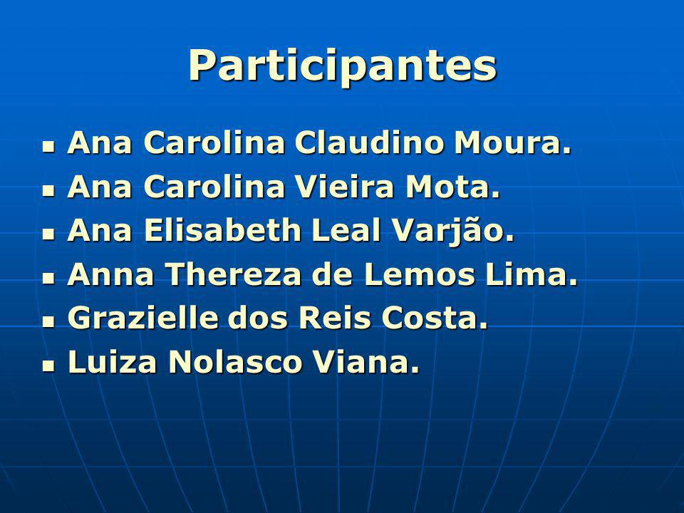 Participantes Ana Carolina Claudino Moura. Ana Carolina Claudino Moura. Ana Carolina Vieira Mota. Ana Carolina Vieira Mota. Ana Elisabeth Leal Varjão.