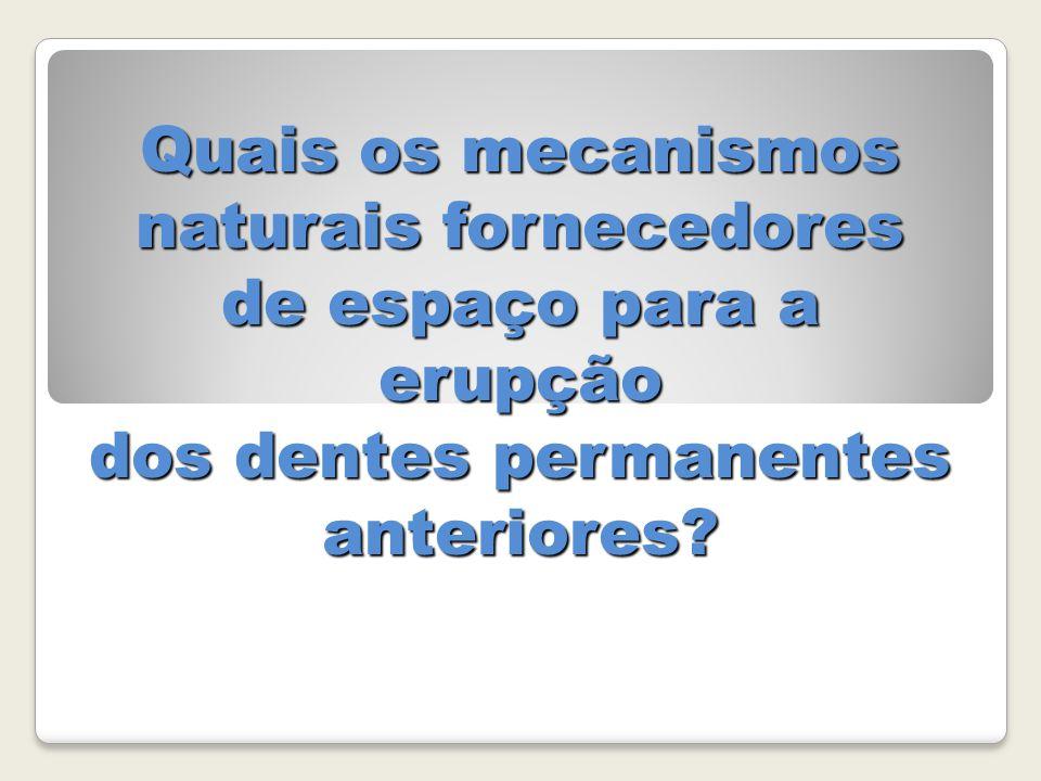 Quais os mecanismos naturais fornecedores de espaço para a erupção dos dentes permanentes anteriores?