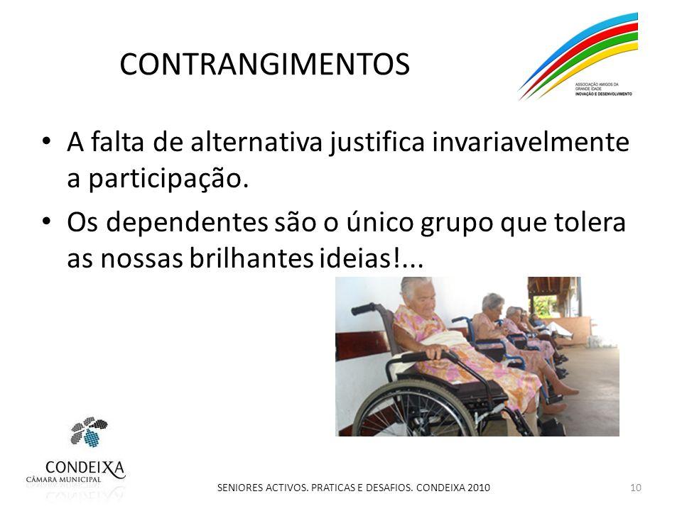 CONTRANGIMENTOS A falta de alternativa justifica invariavelmente a participação.