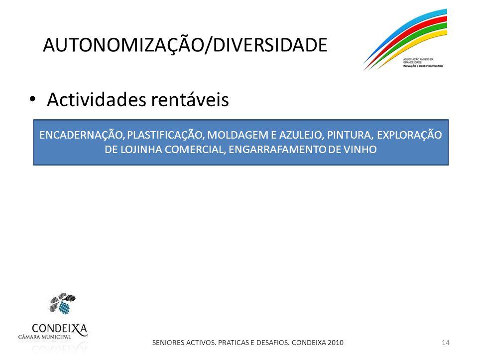 AUTONOMIZAÇÃO/DIVERSIDADE Actividades rentáveis 14 SENIORES ACTIVOS.