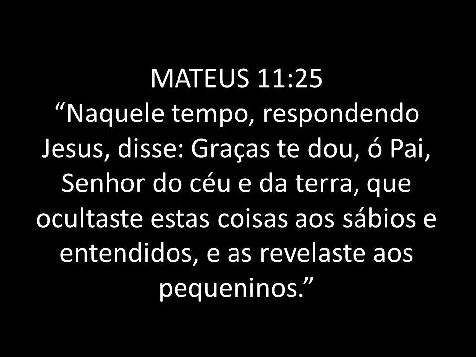 """MATEUS 11:25 """"Naquele tempo, respondendo Jesus, disse: Graças te dou, ó Pai, Senhor do céu e da terra, que ocultaste estas coisas aos sábios e entendi"""