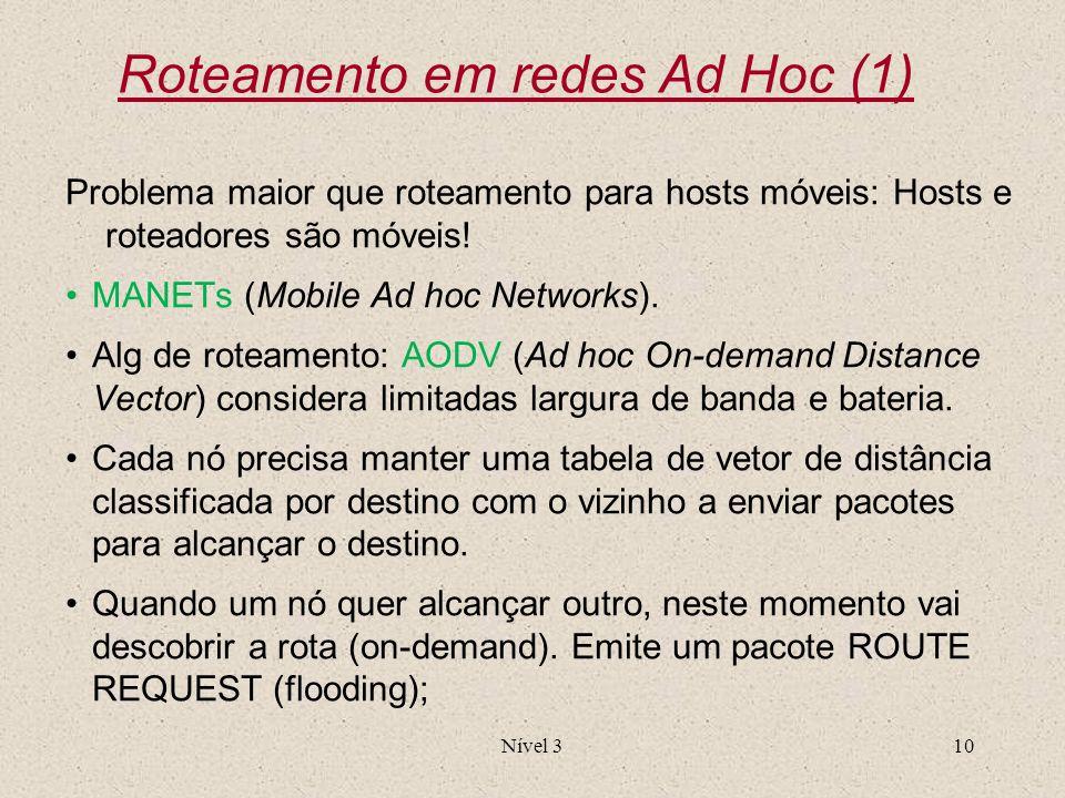 Nível 310 Roteamento em redes Ad Hoc (1) Problema maior que roteamento para hosts móveis: Hosts e roteadores são móveis! MANETs (Mobile Ad hoc Network
