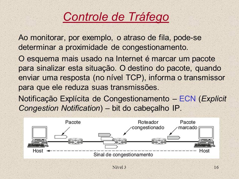 Nível 316 Controle de Tráfego Ao monitorar, por exemplo, o atraso de fila, pode-se determinar a proximidade de congestionamento. O esquema mais usado