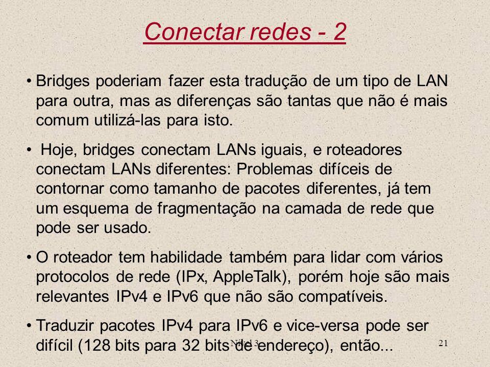 Nível 321 Conectar redes - 2 Bridges poderiam fazer esta tradução de um tipo de LAN para outra, mas as diferenças são tantas que não é mais comum util