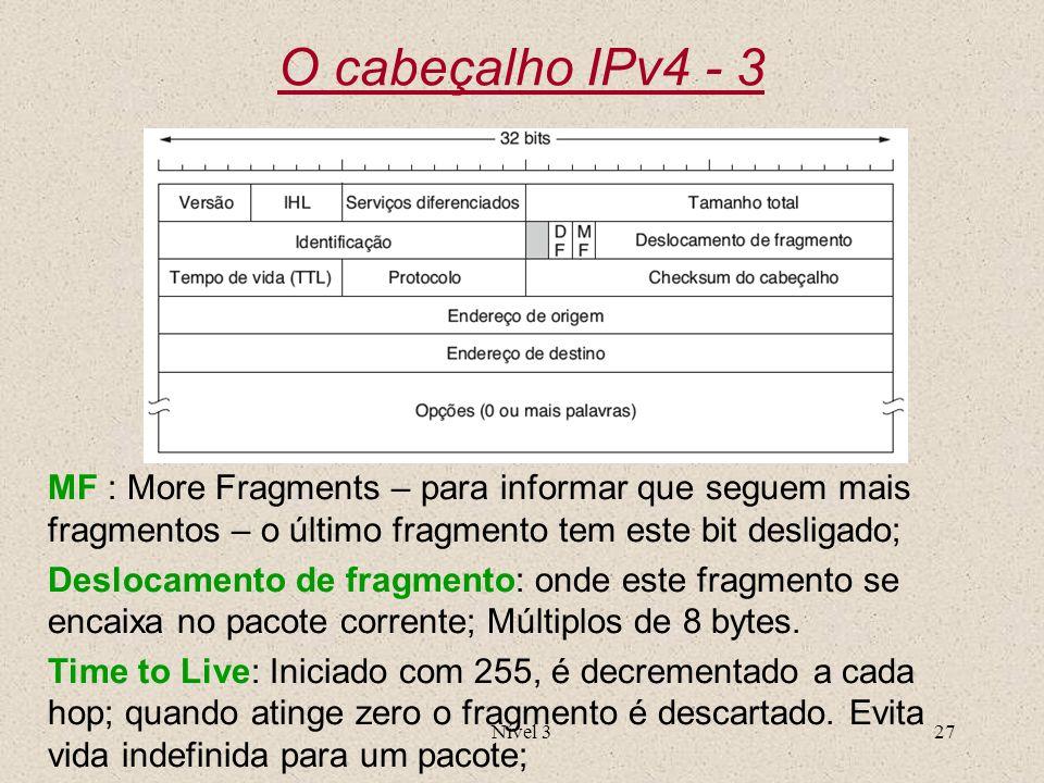 Nível 327 O cabeçalho IPv4 - 3 MF : More Fragments – para informar que seguem mais fragmentos – o último fragmento tem este bit desligado; Deslocament