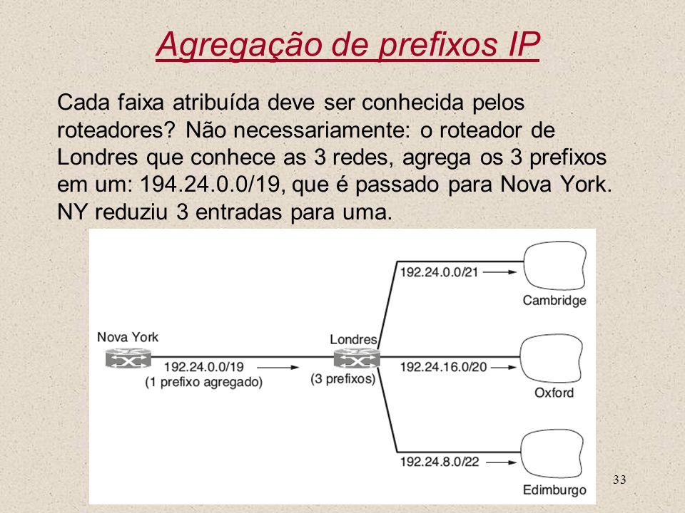 Nível 333 Agregação de prefixos IP Cada faixa atribuída deve ser conhecida pelos roteadores? Não necessariamente: o roteador de Londres que conhece as