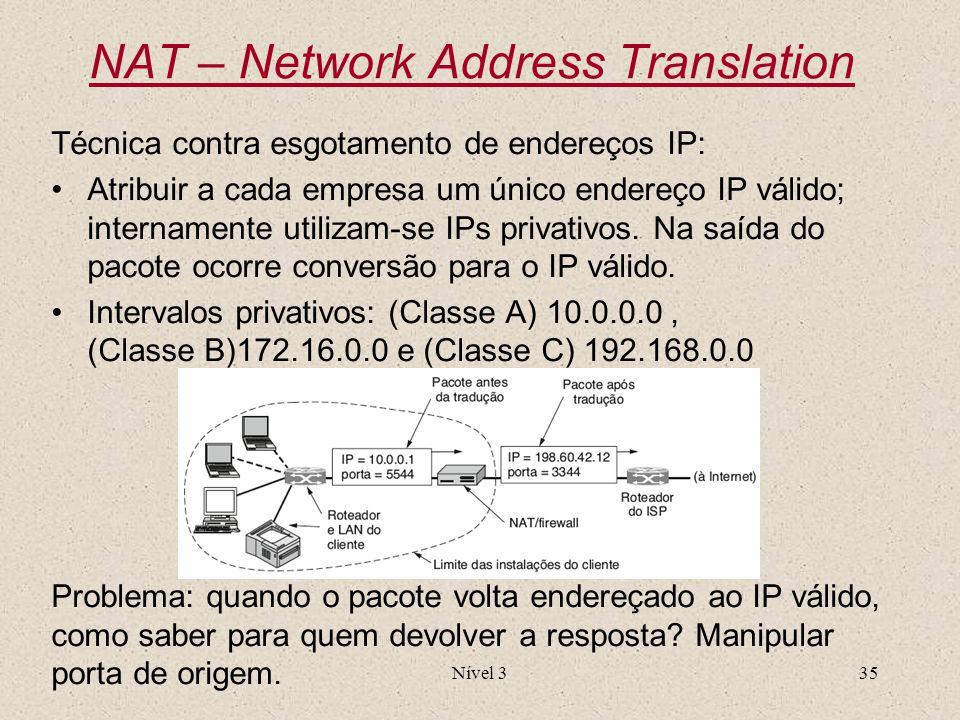 NAT – Network Address Translation Técnica contra esgotamento de endereços IP: Atribuir a cada empresa um único endereço IP válido; internamente utiliz