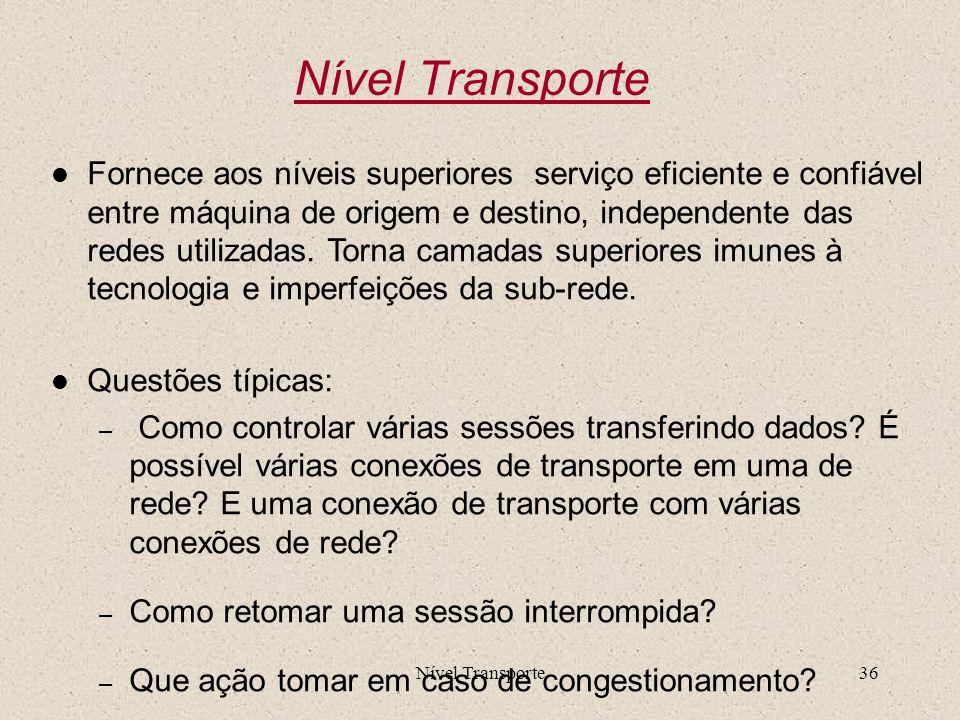 Nível Transporte36 Fornece aos níveis superiores serviço eficiente e confiável entre máquina de origem e destino, independente das redes utilizadas. T