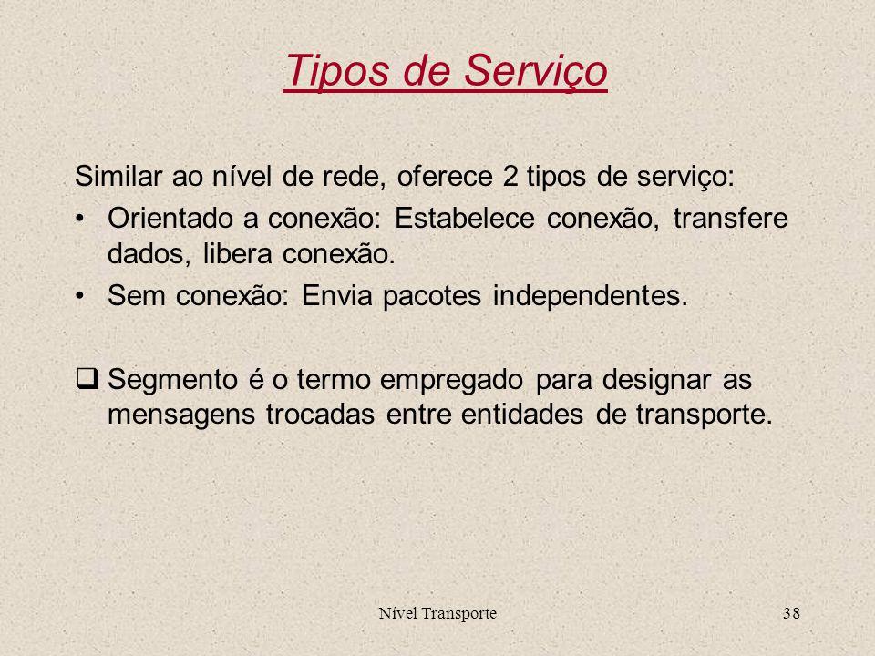 Nível Transporte38 Tipos de Serviço Similar ao nível de rede, oferece 2 tipos de serviço: Orientado a conexão: Estabelece conexão, transfere dados, li
