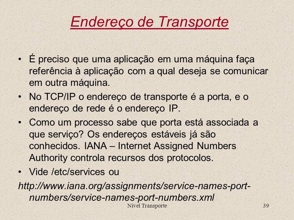 Nível Transporte39 Endereço de Transporte É preciso que uma aplicação em uma máquina faça referência à aplicação com a qual deseja se comunicar em out