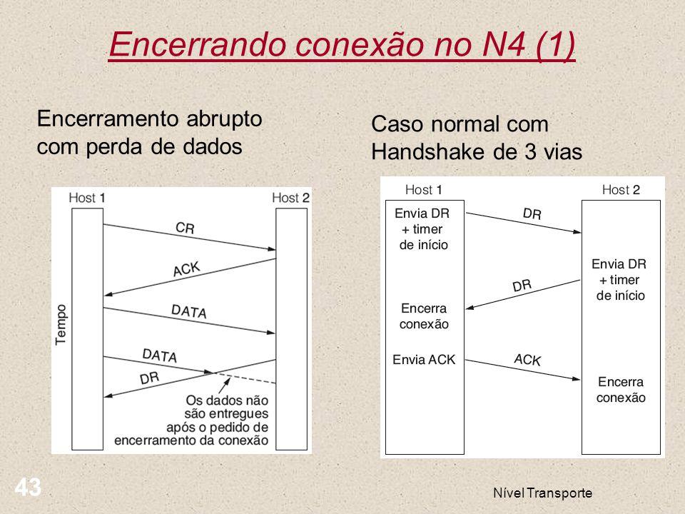 Nível Transporte 43 Encerrando conexão no N4 (1) Encerramento abrupto com perda de dados Caso normal com Handshake de 3 vias
