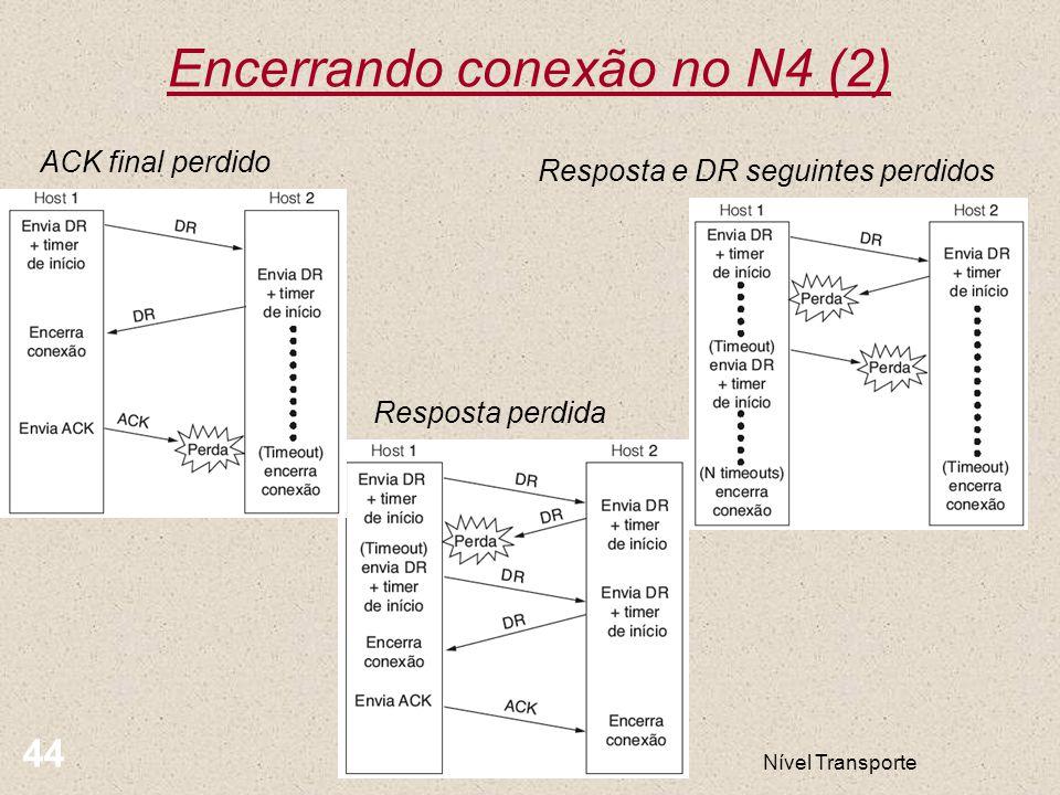 Nível Transporte 44 Encerrando conexão no N4 (2) ACK final perdido Resposta perdida Resposta e DR seguintes perdidos