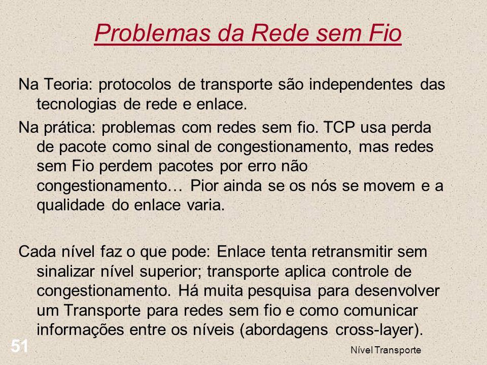Problemas da Rede sem Fio Nível Transporte 51 Na Teoria: protocolos de transporte são independentes das tecnologias de rede e enlace. Na prática: prob