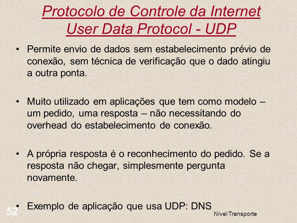 Protocolo de Controle da Internet User Data Protocol - UDP Nível Transporte 52 Permite envio de dados sem estabelecimento prévio de conexão, sem técni
