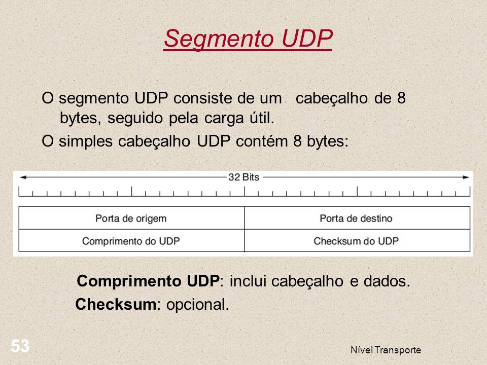 Nível Transporte 53 Segmento UDP O segmento UDP consiste de um cabeçalho de 8 bytes, seguido pela carga útil. O simples cabeçalho UDP contém 8 bytes: