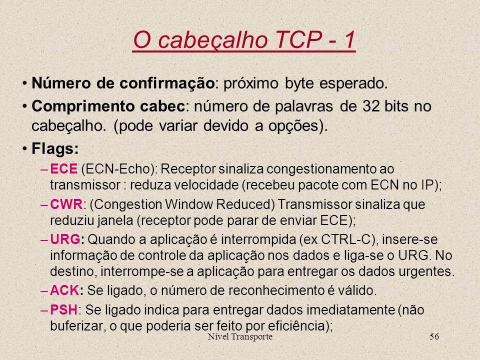 Nível Transporte56 O cabeçalho TCP - 1 Número de confirmação: próximo byte esperado. Comprimento cabec: número de palavras de 32 bits no cabeçalho. (p