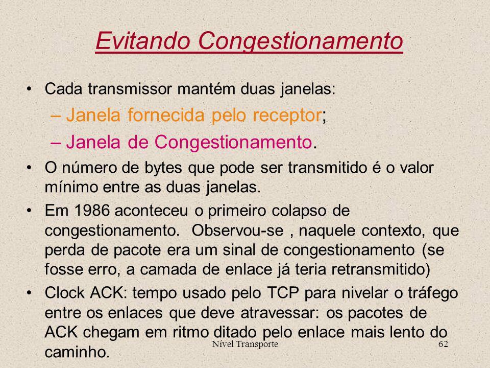 Nível Transporte62 Evitando Congestionamento Cada transmissor mantém duas janelas: –Janela fornecida pelo receptor; –Janela de Congestionamento. O núm