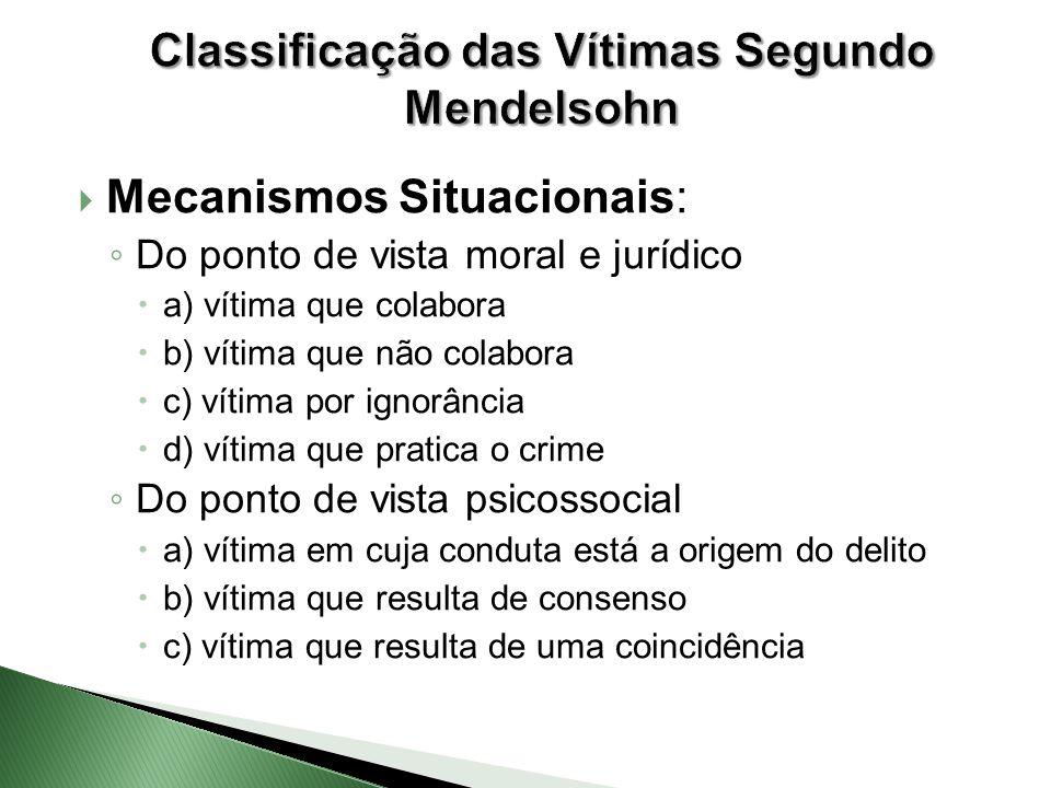 Mecanismos Situacionais: ◦ Do ponto de vista moral e jurídico  a) vítima que colabora  b) vítima que não colabora  c) vítima por ignorância  d)