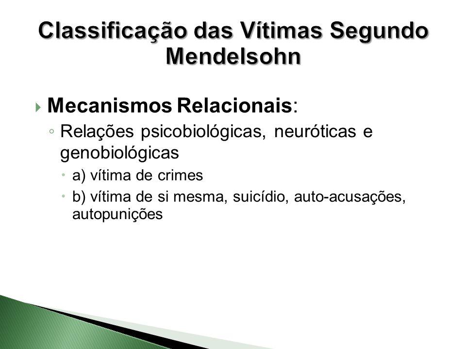  Mecanismos Relacionais: ◦ Relações psicobiológicas, neuróticas e genobiológicas  a) vítima de crimes  b) vítima de si mesma, suicídio, auto-acusaç