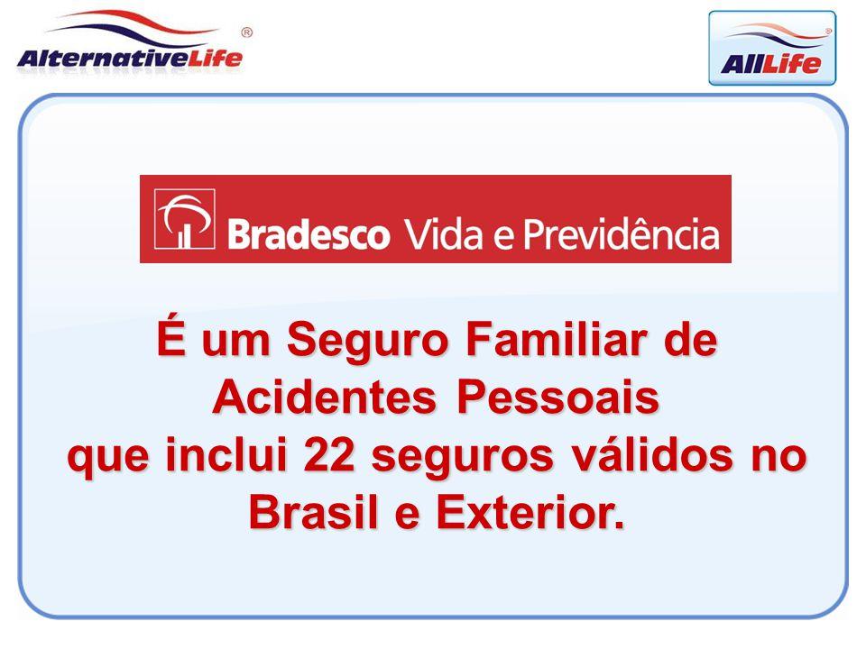 É um Seguro Familiar de Acidentes Pessoais que inclui 22 seguros válidos no Brasil e Exterior.