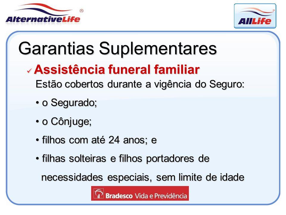 Garantias Suplementares Assistência funeral familiar Assistência funeral familiar Estão cobertos durante a vigência do Seguro: o Segurado; o Segurado;