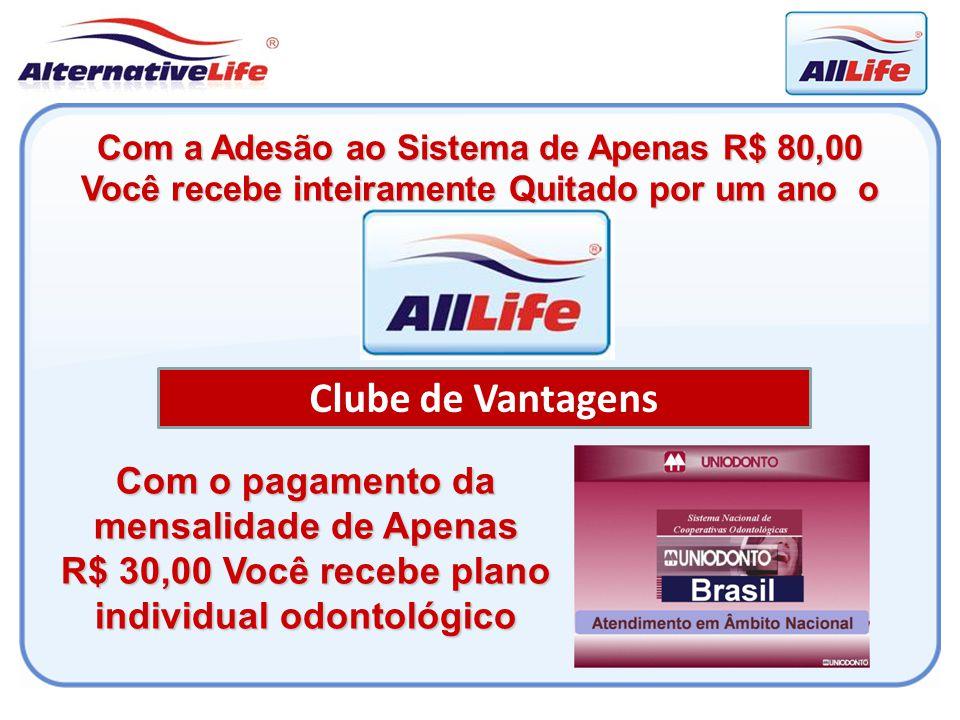 Clube de Vantagens Com o pagamento da mensalidade de Apenas R$ 30,00 Você recebe plano individual odontológico Com a Adesão ao Sistema de Apenas R$ 80