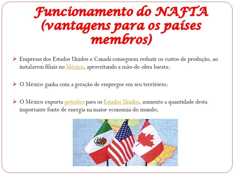  Empresas dos Estados Unidos e Canadá conseguem reduzir os custos de produção, ao instalarem filiais no México, aproveitando a mão-de-obra barata;Méx