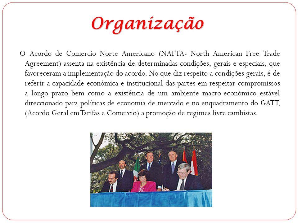 Organização O Acordo de Comercio Norte Americano (NAFTA- North American Free Trade Agreement) assenta na existência de determinadas condições, gerais