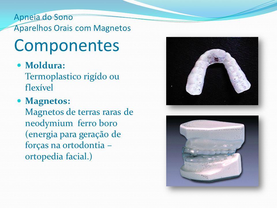Apneia do Sono Aparelhos Orais com Magnetos Componentes Moldura: Termoplastico rigído ou flexível Magnetos: Magnetos de terras raras de neodymium ferr
