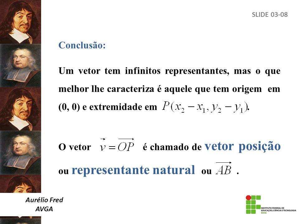 SLIDE 03-08 Conclusão: Um vetor tem infinitos representantes, mas o que melhor lhe caracteriza é aquele que tem origem em (0, 0) e extremidade em. O v