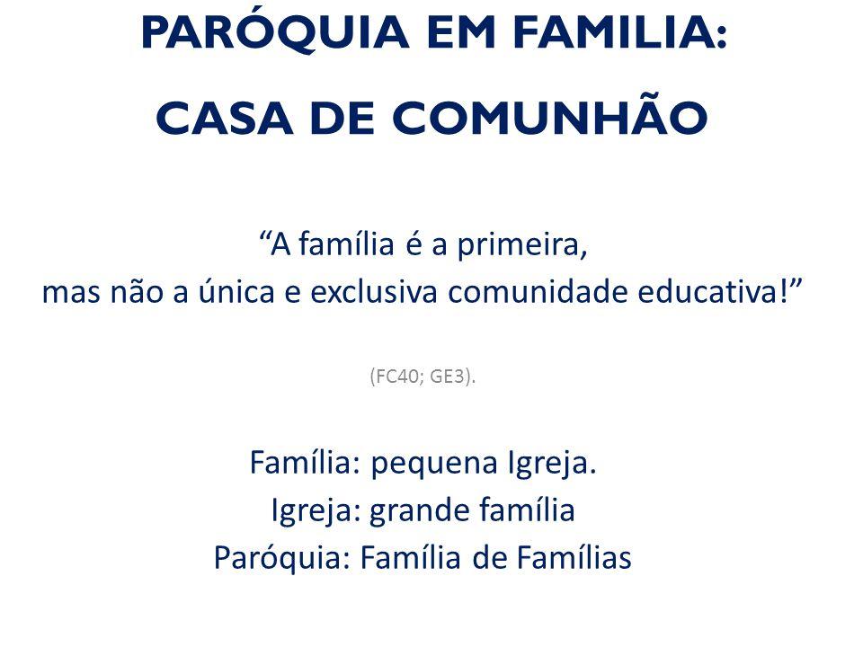PARÓQUIA EM FAMILIA: CASA DE COMUNHÃO A família é a primeira, mas não a única e exclusiva comunidade educativa! (FC40; GE3).