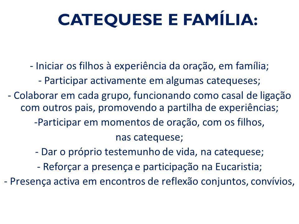 CATEQUESE E FAMÍLIA: - Iniciar os filhos à experiência da oração, em família; - Participar activamente em algumas catequeses; - Colaborar em cada grup
