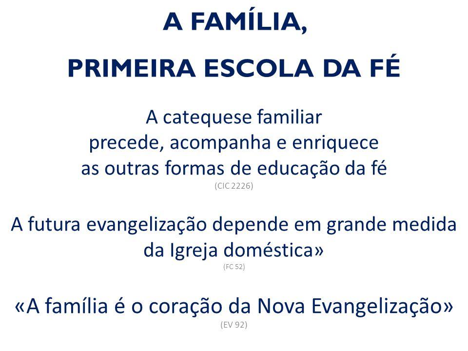 A FAMÍLIA, PRIMEIRA ESCOLA DA FÉ A catequese familiar precede, acompanha e enriquece as outras formas de educação da fé (CIC 2226) A futura evangelização depende em grande medida da Igreja doméstica» (FC 52) «A família é o coração da Nova Evangelização» (EV 92)