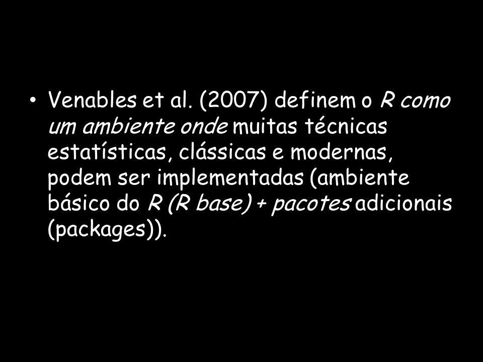 Objetos R é uma linguagem orientada para objetos armazenados na memória ativa do computador; Exemplo 1 Atribuição de valor a um objeto: > x = 10 > x [1] 10 Exemplo 2 Atribuição do resultado de uma função a um objeto: > y = sqrt(2) > y [1] 1.414214