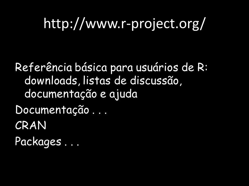 http://www.r-project.org/ Referência básica para usuários de R: downloads, listas de discussão, documentação e ajuda Documentação... CRAN Packages...