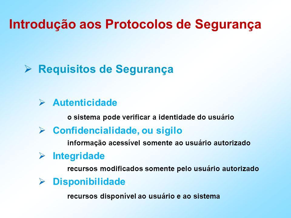  Requisitos de Segurança  Autenticidade o sistema pode verificar a identidade do usuário  Confidencialidade, ou sigilo informação acessível somente ao usuário autorizado  Integridade, recursos modificados somente pelo usuário autorizado  Disponibilidade, recursos disponível ao usuário e ao sistema Introdução aos Protocolos de Segurança
