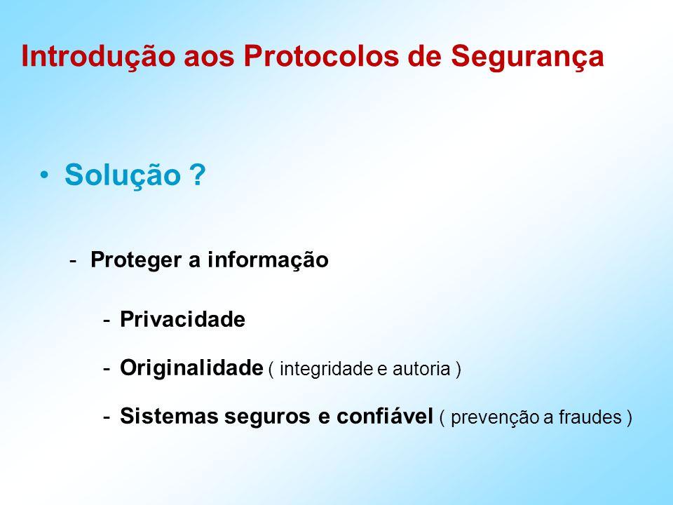 Introdução aos Protocolos de Segurança -Proteger a informação -Privacidade -Originalidade ( integridade e autoria ) -Sistemas seguros e confiável ( prevenção a fraudes ) Solução
