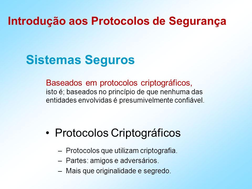 Introdução aos Protocolos de Segurança Sistemas Seguros Baseados em protocolos criptográficos, isto é; baseados no princípio de que nenhuma das entidades envolvidas é presumivelmente confiável.