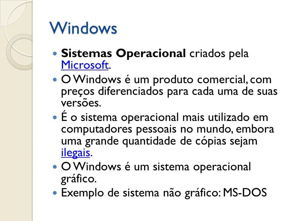 Windows Sistemas Operacional criados pela Microsoft. Microsoft O Windows é um produto comercial, com preços diferenciados para cada uma de suas versõe