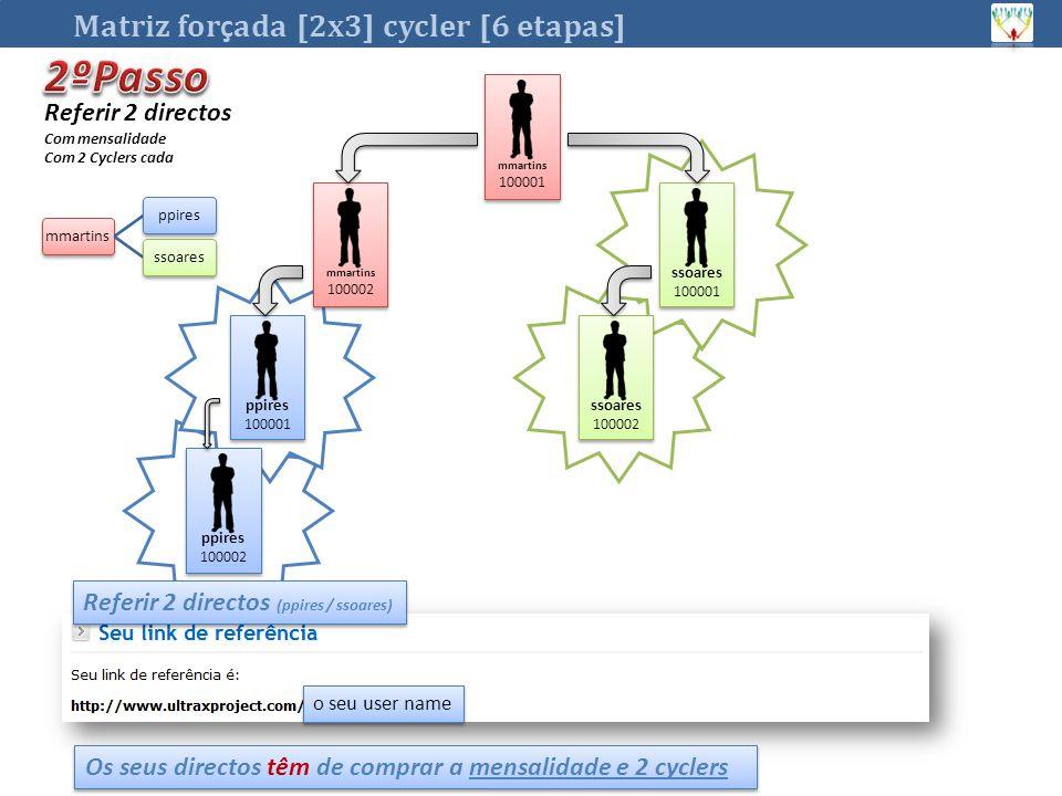 o seu user name Matriz for ç ada [2x3] cycler [6 etapas] mmartins 100001 mmartins 100001 ssoares 100001 ssoares 100001 mmartins 100002 mmartins 100002 Referir 2 directos (ppires / ssoares) Os seus directos têm de comprar a mensalidade e 2 cyclers ppires 100001 ppires 100001 ssoares 100002 ssoares 100002 ppires 100002 ppires 100002 mmartinsppiresssoares Referir 2 directos Com mensalidade Com 2 Cyclers cada