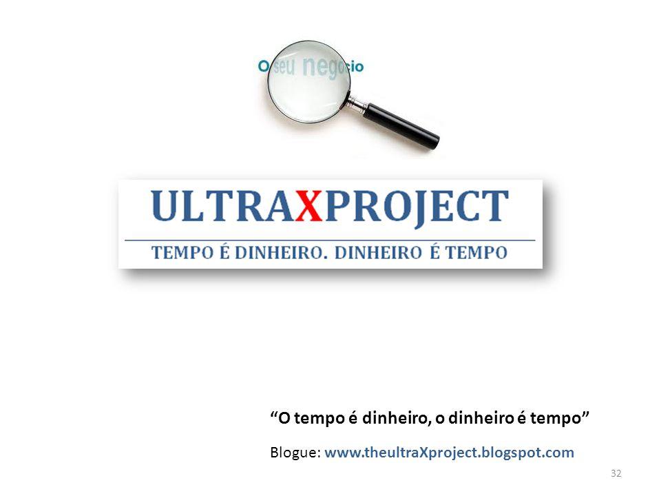 O tempo é dinheiro, o dinheiro é tempo Blogue: www.theultraXproject.blogspot.com 32