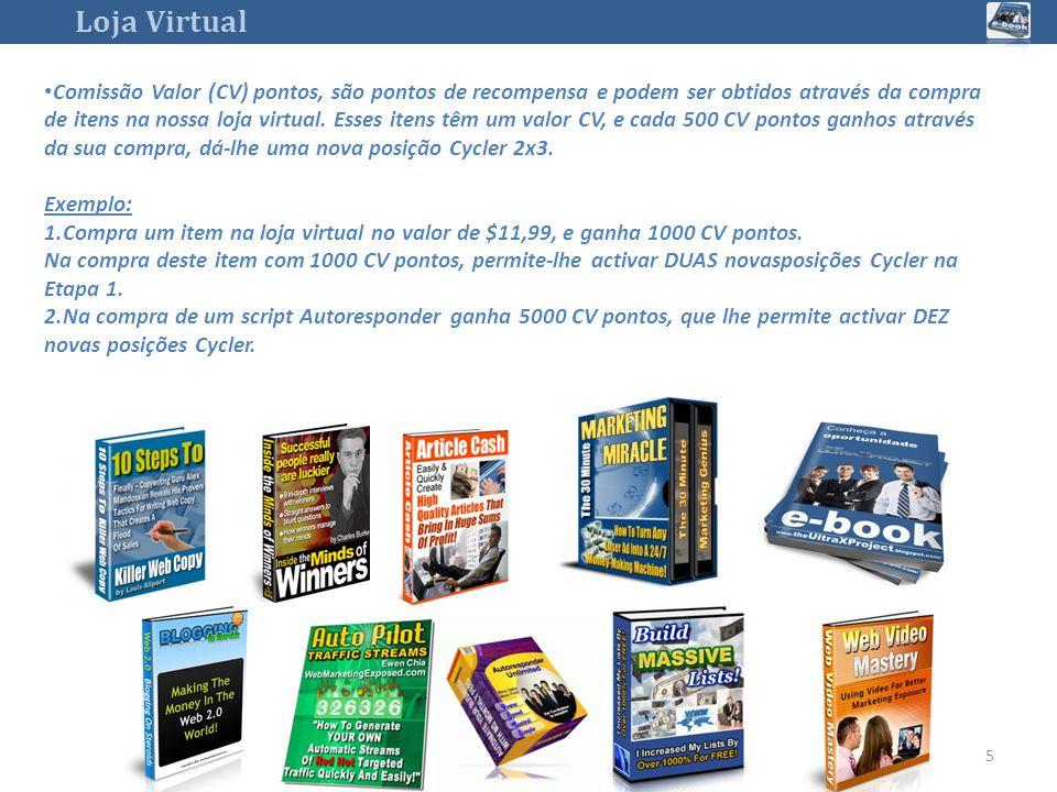 Loja Virtual 5 Comissão Valor (CV) pontos, são pontos de recompensa e podem ser obtidos através da compra de itens na nossa loja virtual.